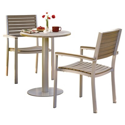 """Oxford Garden Travira Bistro Set 3 Piece with 24"""" Table - Powder Coated Aluminum with Vintage Tekwood Top"""