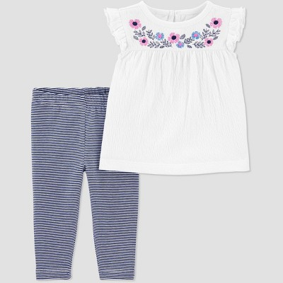 Baby Girls' 2pc Floral Top & Bottom Set - Just One You® made by carter's White/Navy 3M