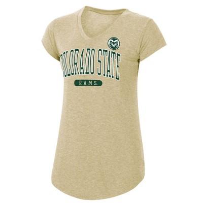 NCAA Colorado State Rams Women's Tan Short Sleeve V-Neck T-Shirt
