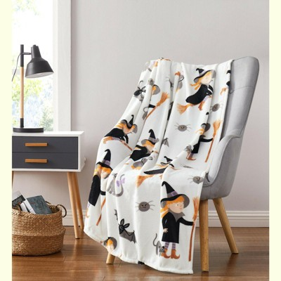 Kate Aurora Halloween Witches, Black Cats & Bats Ultra Soft & Plush Oversized Accent Throw Blanket