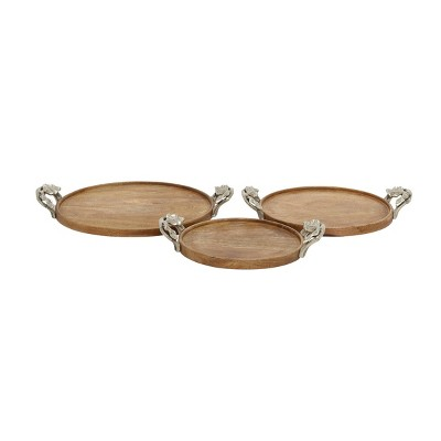 Set of 3 Round Natural Mango Wood Trays with Metal Leaf Handles Brown - Olivia & May