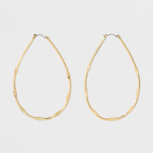 Textured Teardrop Hoop Earrings - Gold - image 1 of 2