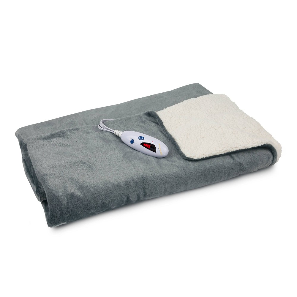 "Image of ""62"""" X 50"""" Velour & Sherpa Electric Throw Blanket Gray - Biddeford Blankets"""