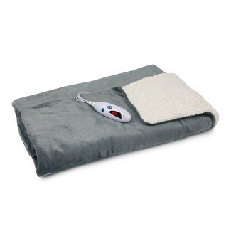 "62"" X 50"" Velour & Sherpa Electric Throw Blanket Gray - Biddeford Blankets"