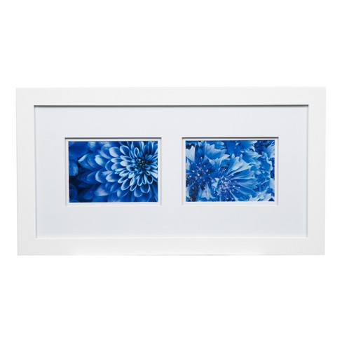 Multiple Image 10x20 Wide Double Mat White 2 5x7 Frame Gallery