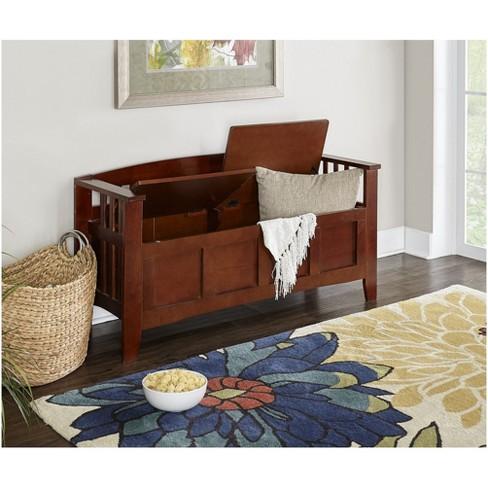 Split Seat Storage Bench Walnut Linon Target