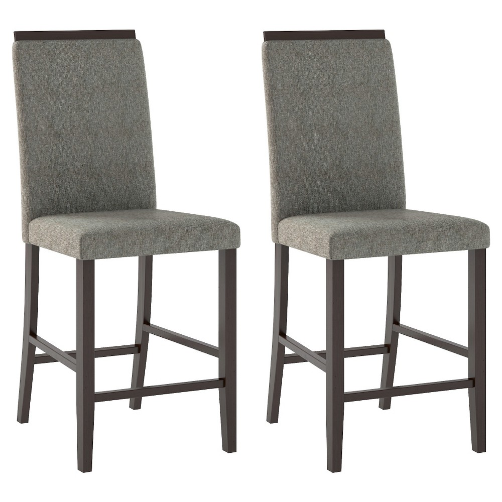Bistro Upholstered Counter Height Dining Chair Wood/Pewter Gray (Set of 2) - CorLiving