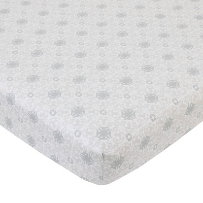 NoJo Serendipity Taupe and Gray Medallion Cotton Fitted Crib Sheet