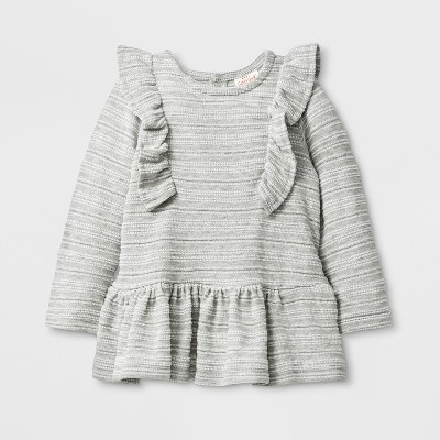 Baby Girls' Long Sleeve Knit Jacquard Tunics - Cat & Jack™ Gray 0-3M
