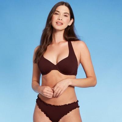 Women's Light Lift Pique Textured Halter Bikini Top - Shade & Shore™ Cinnamon