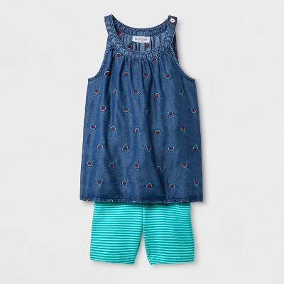 Toddler Girls' Shorts and Romper Set - Cat & Jack™ Medium Denim Wash 12M