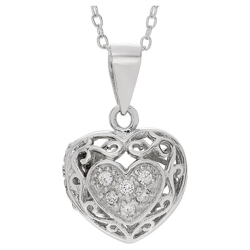 "0.06 CT. T.W. Round-cut CZ Pave Set Heart Locket Pendant Necklace in Sterling Silver - Silver (16"") - image 1 of 3"