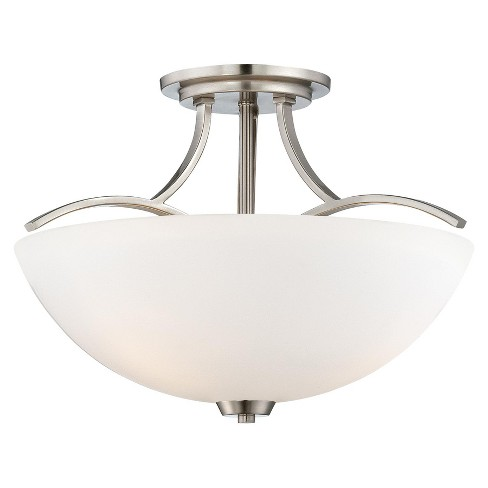 """Minka Lavery 4962 3 Light 16.5"""" Wide Semi-Flush Ceiling Fixture in Brushed Nickel from the Overland Park Collection - image 1 of 1"""