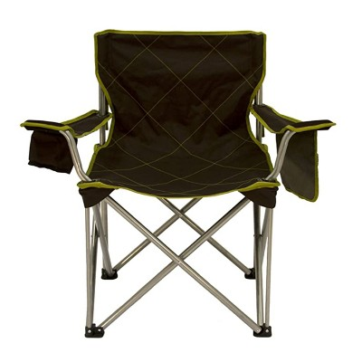 TravelChair 599LM Big Kahuna 800LB Limit Foldable Portable Lightweight Outdoor Camping Chair w/ Mesh Pocket, Large Cup Holder, Carry Bag, Brown/Green