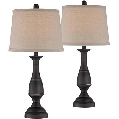 Regency Hill Traditional Table Lamps Set of 2 Dark Bronze Metal Beige Linen Drum Shade for Living Room Family Bedroom Bedside