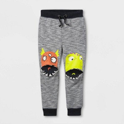 Toddler Boys' Monster Knee French Terry Pull-On Jogger Pants - Cat & Jack™ Gray