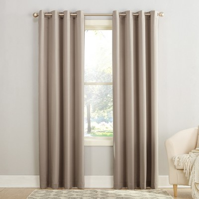 "95""x54"" Seymour Energy Efficient Grommet Room Darkening Curtain Panel Beige - Sun Zero"