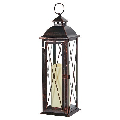 "Siena 16"" LED Candle Outdoor Lantern - Antique Brown - Smart Living"