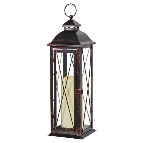 """Siena 16"""" LED Candle Outdoor Lantern - Antique Brown - Smart Living - image 1 of 4"""