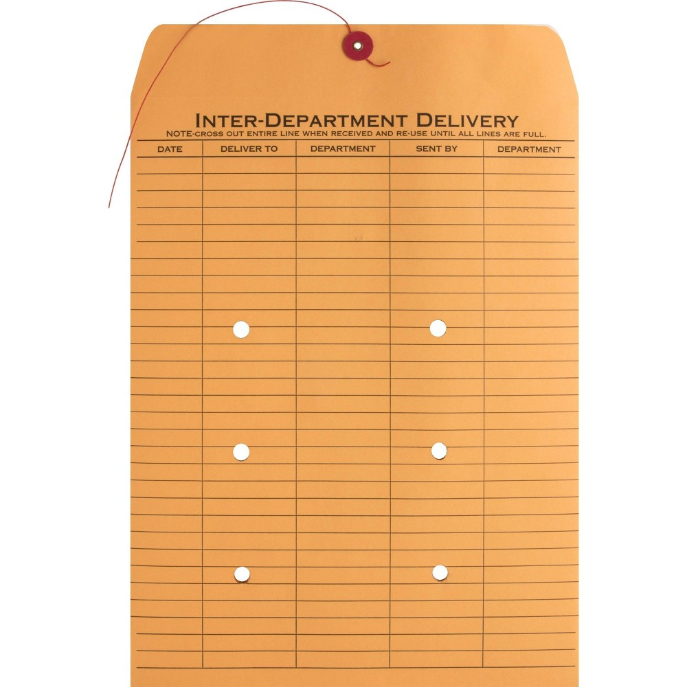 Image of Business Source 100ct 2-sided Inter-Department Envelopes, Brown