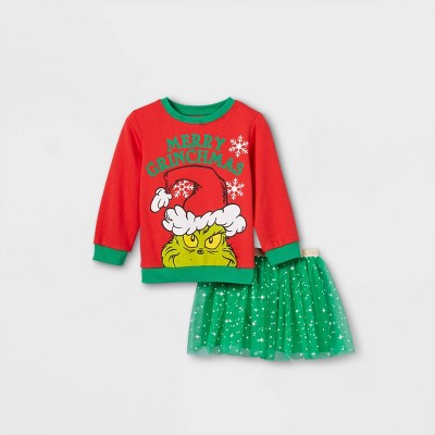 Toddler Girls' The Grinch Fleece Pullover and Tutu Skirt Set - Red