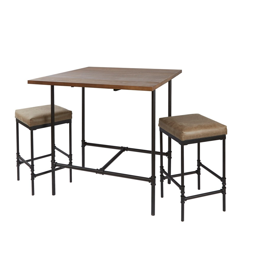Image of 3Pc Devlin Pipe Fitting Pub Height Dining Set Distressed Brown - Silverwood