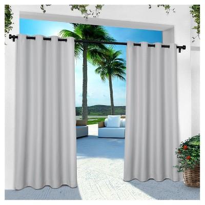 Indoor/Outdoor Solid Cabana Grommet Top Window Curtain Panel Pair Cloud Gray (54 x108 )- Exclusive Home™