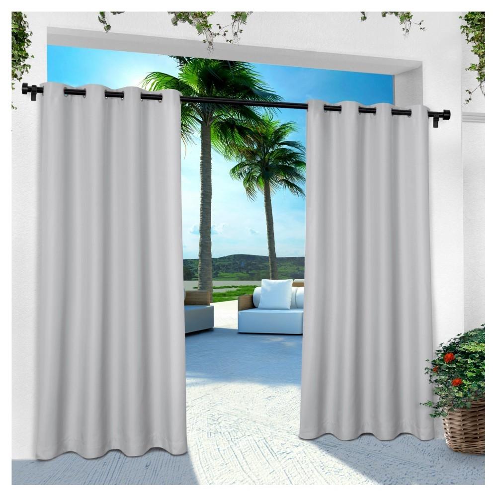 Indoor/Outdoor Solid Cabana Grommet Top Window Curtain Panel Pair Cloud Gray (54