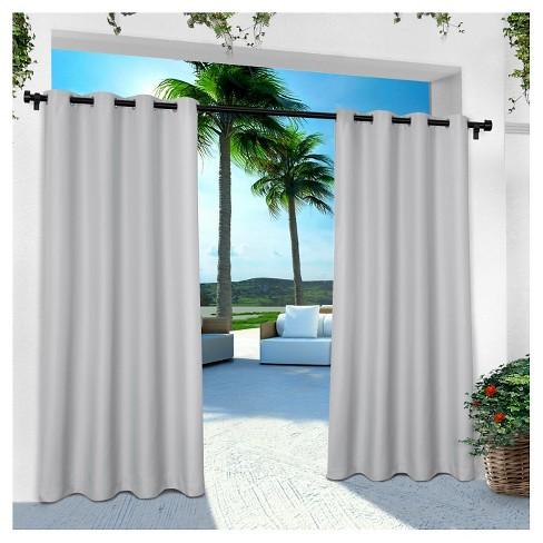Indoor/Outdoor Solid Cabana Grommet Top Window Curtain Panel Pair - Exclusive Home™ - image 1 of 4