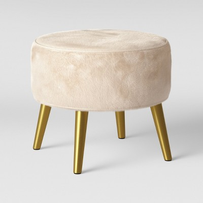 Riverplace Brass Cone Leg Ottoman Furocious Arctic - Project 62™