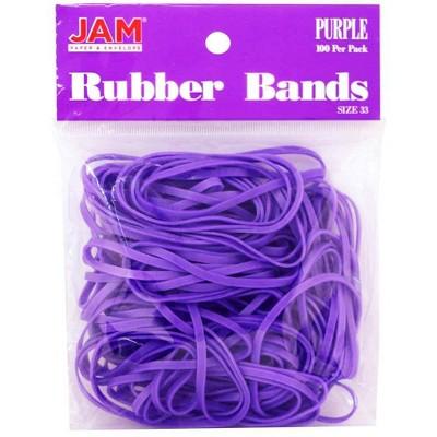 JAM Paper 100pk Colorful Rubber Bands - Size 33 - Purple