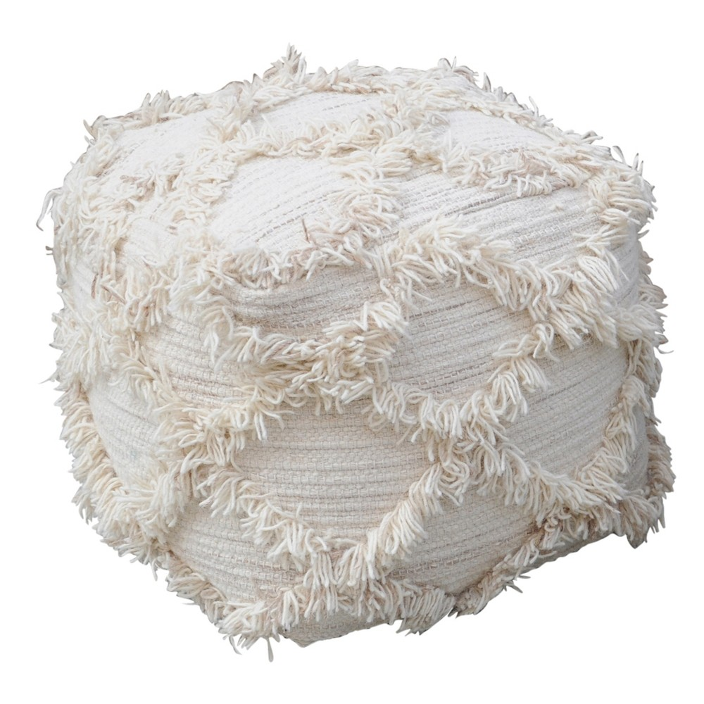 Jucar Moroccan Inspired Pouf Ivory Christopher Knight Home