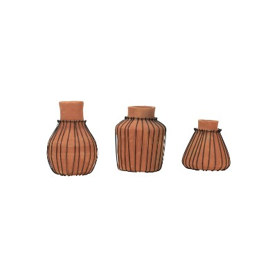 Set of 3 Natural Terracotta and Wire Decorative Bud Vases - Foreside Home & Garden