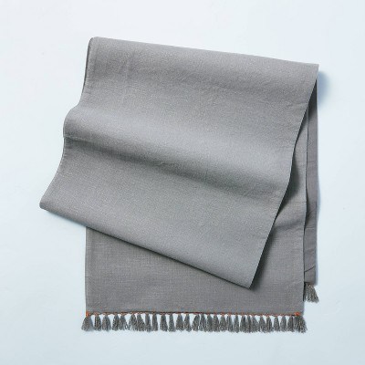 Contrast Edge Stitch Oversized Table Runner with Fringe Gray - Hearth & Hand™ with Magnolia