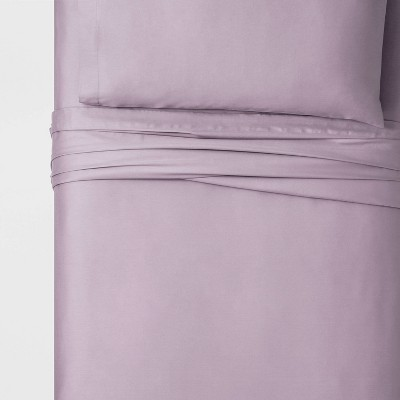 Twin XL 100% Cotton Solid Sheet Set Sea Fog Purple - Threshold™