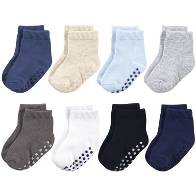Touched by Nature Baby and Toddler Boy Organic Cotton Socks with Non-Skid Gripper for Fall Resistance, Solid Black Blue