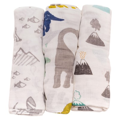 Little Unicorn Cotton Muslin Swaddle 3pk - Dino Friends
