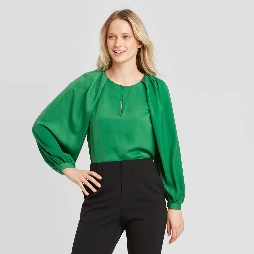 Women's Balloon Long Sleeve Keyhole Blouse - Who What Wear Green XS was $29.99 now $20.99 (30.0% off)