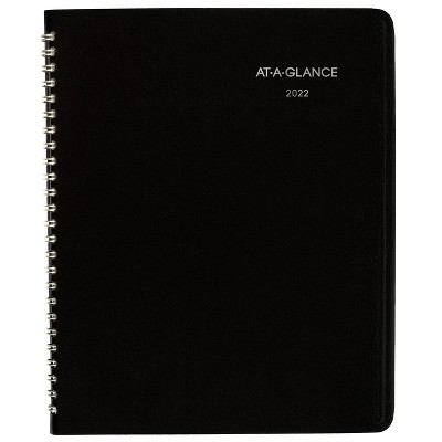 """2022 Planner 7""""x8.75"""" Monthly DayMinder Black - At-A-Glance"""