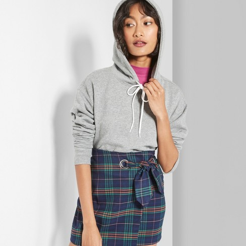 Women's Hooded Cropped Sweatshirt - Wild Fable™ Heather Gray - image 1 of 3