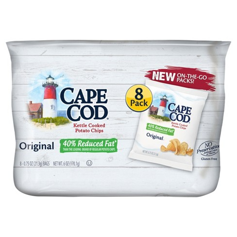 Cape Cod Original Flavored 40% Reduced Fat Kettle Cooked Potato Chips - .75oz / 8ct - image 1 of 2
