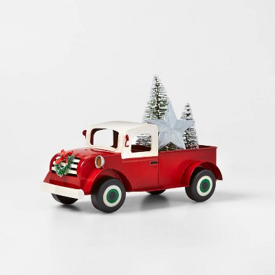 Large Metal Truck Decorative Figurine Red - Wondershop™