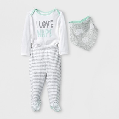Baby I Love Naps 3pc Set - Cloud Island™ White 0-3M