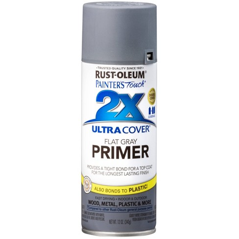 Paint And Primer >> Rust Oleum Painter S Touch 2x Ultra Cover Flat Gray Primer Spray Paint 12oz