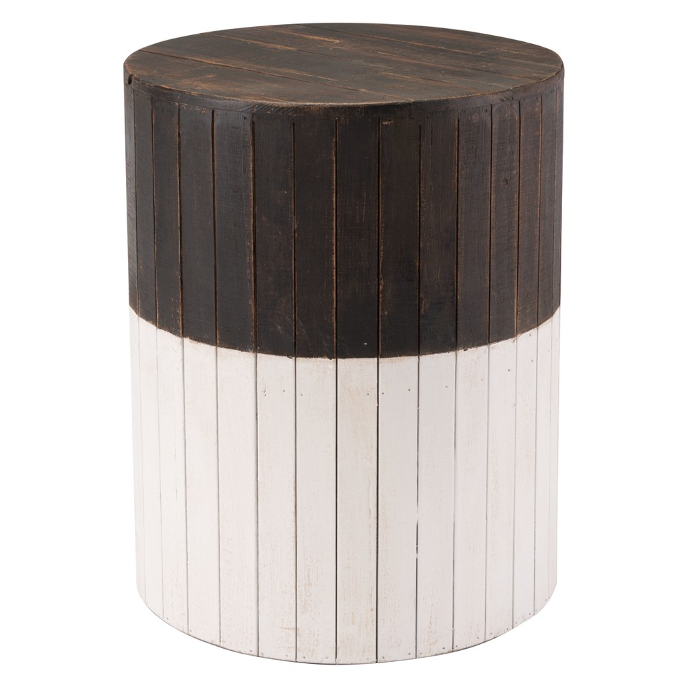 14 Distressed Round Wood Stool - Brown & White - ZM Home