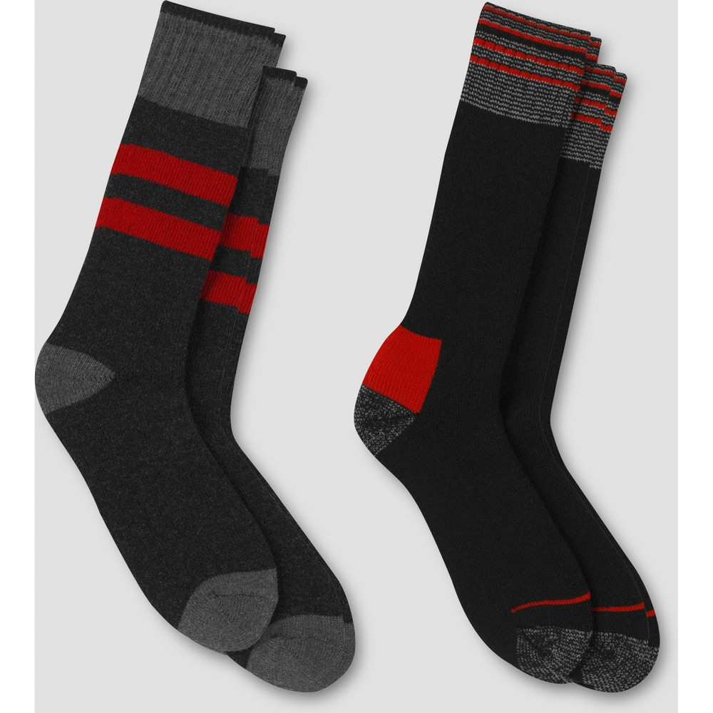 Vintage Men's Socks History-1900 to 1960s Mens Striped Outdoor Heavyweight Wool Blend Crew Socks 2pk - C9 Champion BlackRed 6-12 $12.99 AT vintagedancer.com