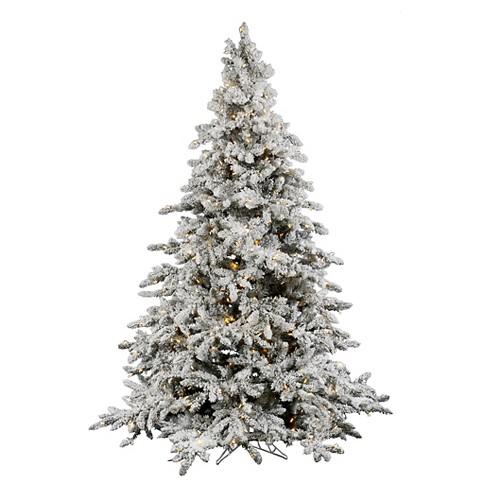 4.5ft Pre-Lit Artificial Christmas Tree Flocked Fir - White LED ...