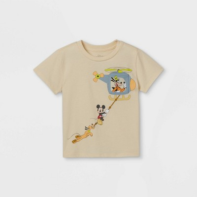Toddler Boys' Mickey Mouse and Friends Short Sleeve Pocket T-Shirt - Cream