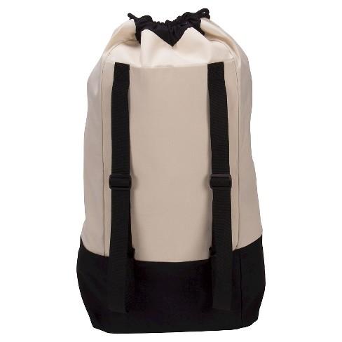 Household Essentials Backpack Duffel Laundry Bag Canvas Drawstring Cream Black Target