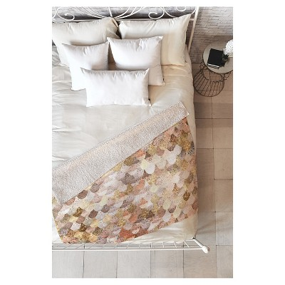 Beige Geometric Monika Strigel Really Mermaid Gold Sherpa Throw Blanket (50 X60 )- Deny Designs®
